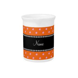 Diamantes rosados anaranjados conocidos personaliz jarra para bebida