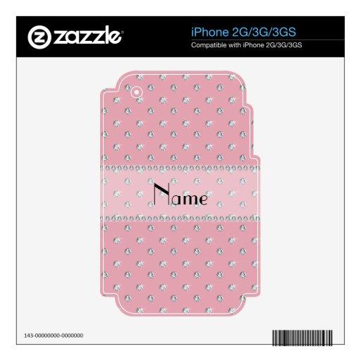 Diamantes rosados bonitos conocidos personalizados iPhone 3G skin