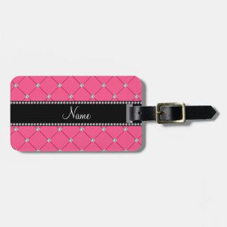Diamantes rosados conocidos personalizados etiqueta de equipaje