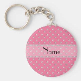 Diamantes rosados conocidos personalizados llaveros
