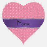 Diamantes rosados conocidos personalizados pegatina corazón personalizadas
