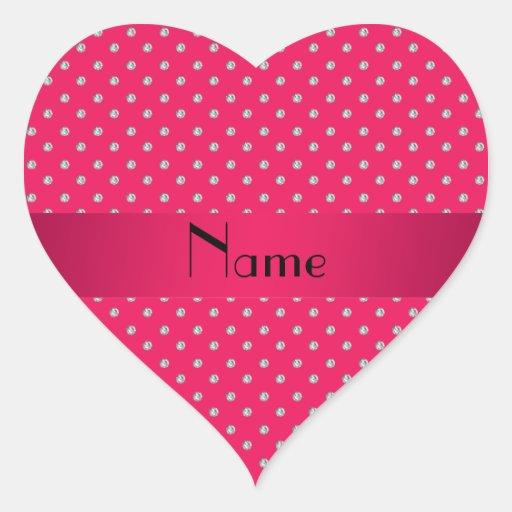 Diamantes rosados conocidos personalizados pegatina en forma de corazón