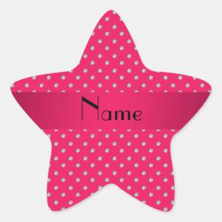 Diamantes rosados conocidos personalizados pegatina en forma de estrella