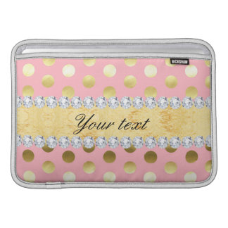 Diamantes rosados de los lunares de la hoja de oro fundas MacBook