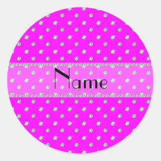 Diamantes rosados de neón conocidos personalizados pegatina redonda