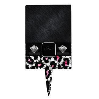 Diamantes rosados del palo de golf del guepardo de decoraciones para tartas