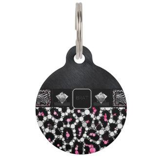 Diamantes rosados del palo de golf del guepardo de placas para mascotas