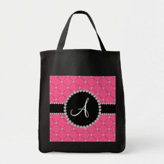 Diamantes rosados del penacho del monograma bolsa tela para la compra