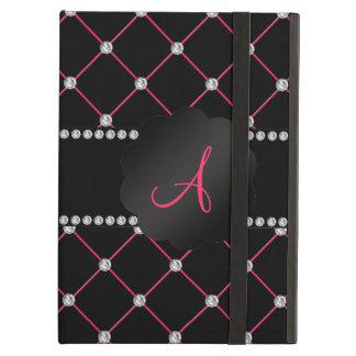 Diamantes rosados negros del monograma