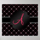 Diamantes rosados negros del monograma posters