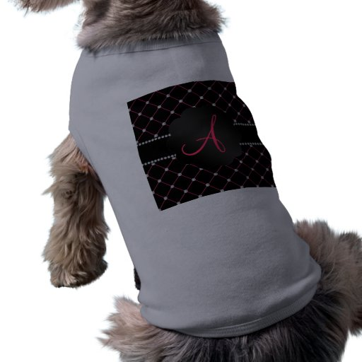Diamantes rosados negros del monograma ropa de mascota