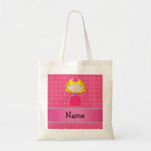 Diamantes rosados personalizados de la princesa co bolsas de mano