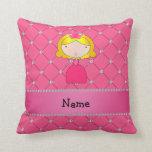 Diamantes rosados personalizados de la princesa co cojin