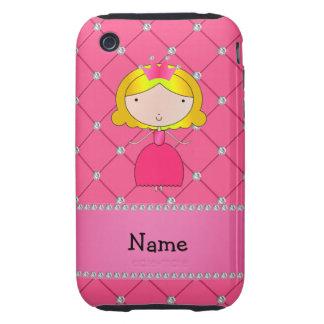 Diamantes rosados personalizados de la princesa co tough iPhone 3 carcasa
