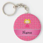 Diamantes rosados personalizados de la princesa co llaveros personalizados