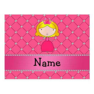 Diamantes rosados personalizados de la princesa co postal