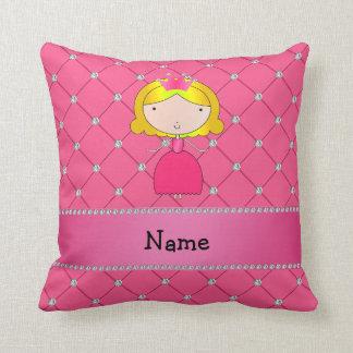 Diamantes rosados personalizados de la princesa cojín