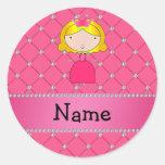 Diamantes rosados personalizados de la princesa pegatina redonda