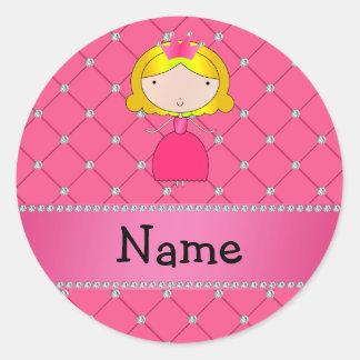Diamantes rosados personalizados de la princesa pegatinas redondas