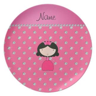 Diamantes rosados personalizados de la princesa platos de comidas