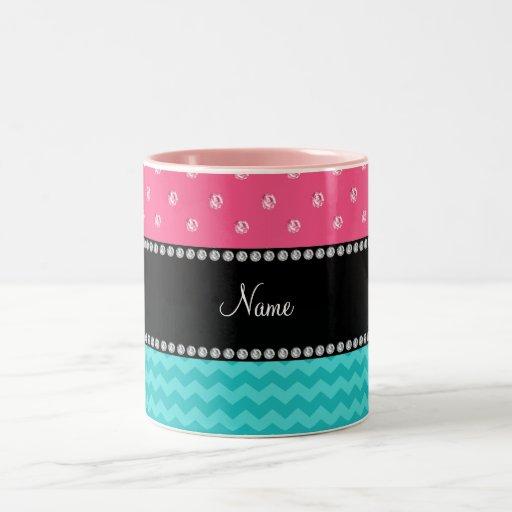 Diamantes rosados personalizados de los galones co tazas de café