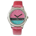 Diamantes rosados personalizados de los galones relojes