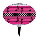 Diamantes rosados y negros del lunar y notas music figura de tarta