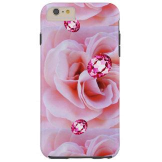 DIAMANTES ROSADOS Y ROSAS DE IPHONE6CASE FUNDA DE iPhone 6 PLUS TOUGH