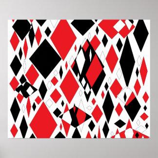 Diamantes torcidos en negro y rojo impresiones