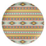 Diamantes tribales aztecas coloridos del nativo am plato de comida