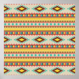 Diamantes tribales aztecas coloridos del nativo póster
