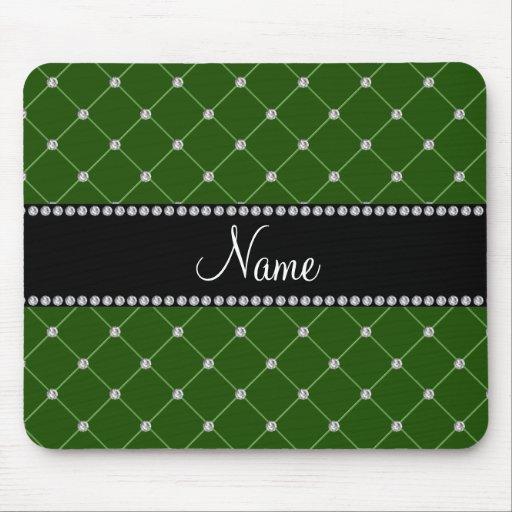 Diamantes verde oscuro conocidos personalizados tapete de raton