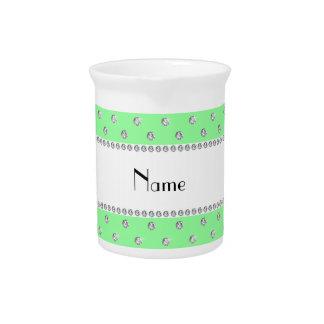 Diamantes verdes claros conocidos personalizados jarra para bebida