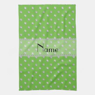 Diamantes verdes claros conocidos personalizados toalla de cocina
