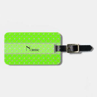 Diamantes verdes de neón conocidos personalizados etiqueta de maleta
