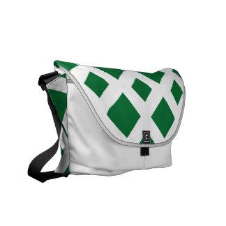 Diamantes verdes en blanco bolsas de mensajeria