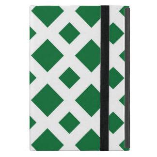 Diamantes verdes en blanco iPad mini coberturas
