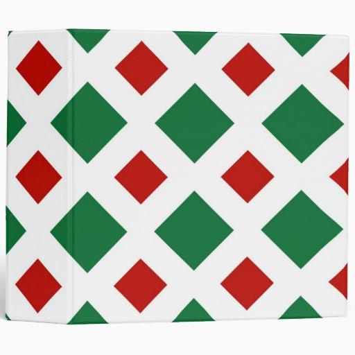 Diamantes verdes y rojos en blanco