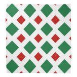 Diamantes verdes y rojos en blanco bandanas