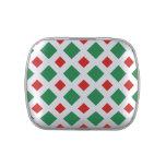 Diamantes verdes y rojos en blanco frascos de caramelos