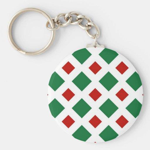 Diamantes verdes y rojos en blanco llaveros personalizados