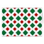 Diamantes verdes y rojos en blanco tarjeton