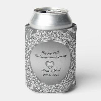 Diamantes y 10mo aniversario de boda de la plata enfriador de latas