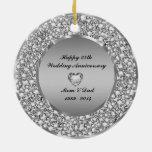 Diamantes y 25to aniversario de boda de la plata