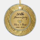 Diamantes y 50.o aniversario de boda del oro 2 adorno de navidad