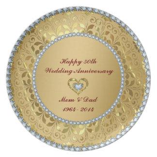 Diamantes y 50.o aniversario de boda del oro 2 platos para fiestas