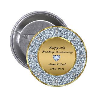 Diamantes y aniversario de boda del oro 50.o pin redondo de 2 pulgadas