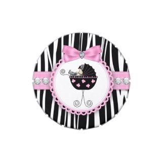 Diamantes y caramelo rosado de la fiesta de bienve latas de caramelos