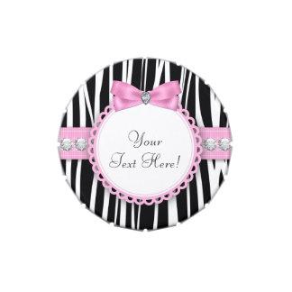 Diamantes y caramelo rosado de la fiesta de frascos de dulces