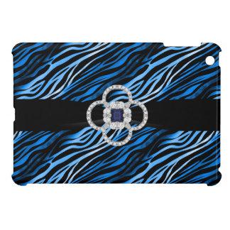 Diamantes y caso del iPad azul del estampado de ze iPad Mini Carcasas